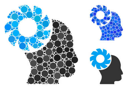 Brain wheel composition of small circles in different sizes and color tones, based on brain wheel icon. Vector small circles are combined into blue composition.