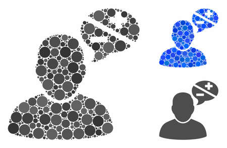 User arguments composition of round dots in various sizes and shades, based on user arguments icon. Vector round dots are composed into blue illustration.