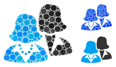 Women composition of filled circles in various sizes and color tints, based on women icon. Vector random circles are united into blue composition. Dotted women icon in usual and blue versions. Çizim