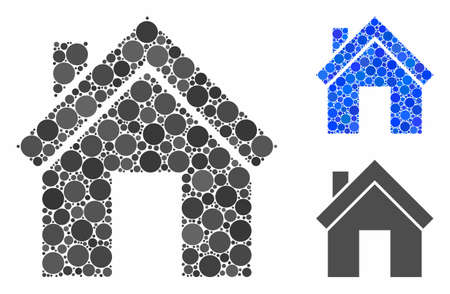 Home mosaic of round dots in variable sizes and color tones, based on home icon. Vector round elements are grouped into blue mosaic. Dotted home icon in usual and blue versions.