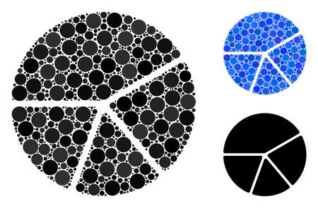 Pie chart composition of spheric dots in different sizes and color tints, based on pie chart icon. Vector round dots are grouped into blue composition. Иллюстрация