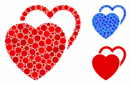 Love hearts composition of filled circles in different sizes and color tints, based on love hearts icon. Vector filled circles are composed into blue mosaic.