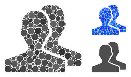 Customers composition of round dots in various sizes and color tinges, based on customers icon. Vector round dots are grouped into blue collage. Dotted customers icon in usual and blue versions.