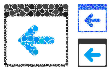 Previous calendar day mosaic of circle elements in variable sizes and color tinges, based on previous calendar day icon. Vector circle elements are grouped into blue mosaic.