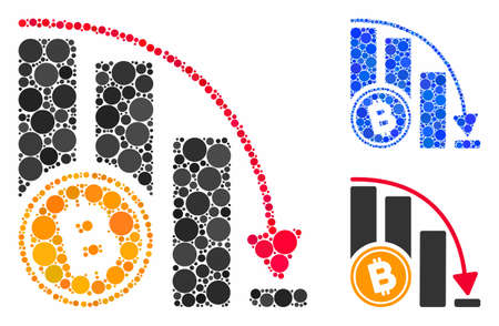 Bitcoin falling acceleration chart composition of round dots in various sizes and color tinges, based on Bitcoin falling acceleration chart icon. Vector round dots are combined into blue collage.