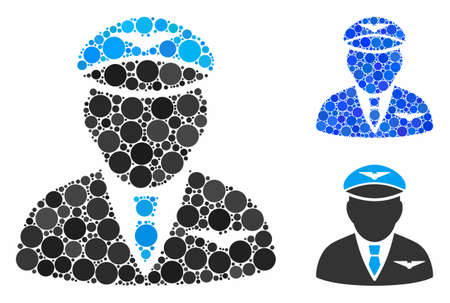 Pilot mosaic of small circles in various sizes and color hues, based on pilot icon. Vector small circles are combined into blue mosaic. Dotted pilot icon in usual and blue versions.