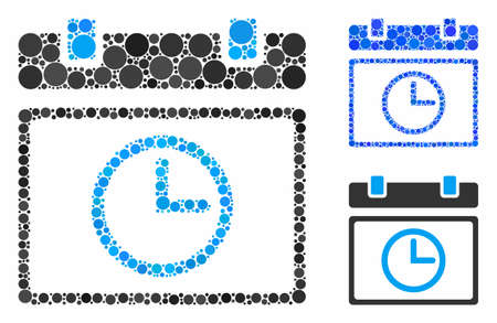 Date time composition of filled circles in various sizes and color tones, based on date time icon. Vector random circles are combined into blue composition.