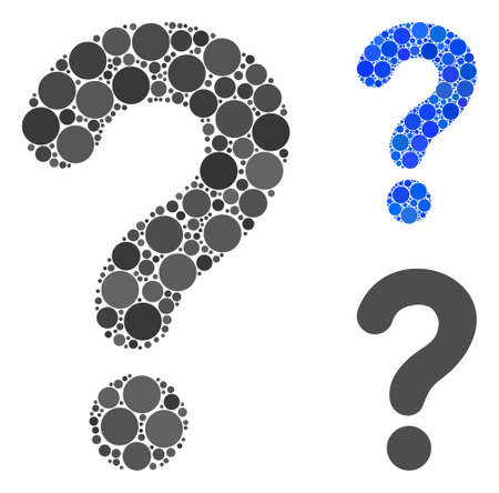 Question composition of small circles in various sizes and shades, based on question icon. Vector small circles are grouped into blue collage. Dotted question icon in usual and blue versions.