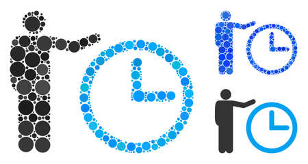 Time show mosaic of filled circles in variable sizes and color tints, based on time show icon. Vector filled circles are grouped into blue collage. Dotted time show icon in usual and blue versions. Stock Illustratie