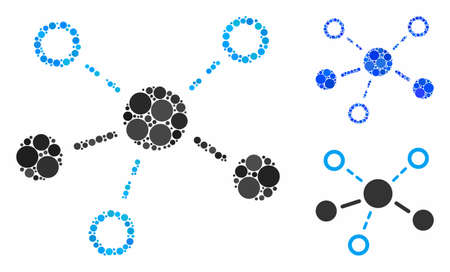 Structure composition of filled circles in different sizes and color tinges, based on structure icon. Vector filled circles are grouped into blue illustration. Иллюстрация