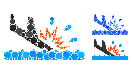 Water air crash composition of spheric dots in different sizes and color hues, based on water air crash icon. Vector round dots are grouped into blue composition.