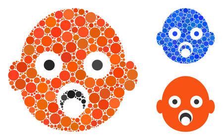 Baby head composition of small circles in variable sizes and color tints, based on baby head icon. Vector random circles are combined into blue composition.