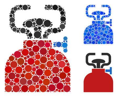 Burner composition of small circles in various sizes and shades, based on burner icon. Vector small circles are combined into blue composition. Dotted burner icon in usual and blue versions.
