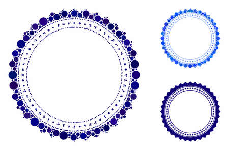 Rosette circular star frame mosaic of small circles in various sizes and color hues, based on rosette circular star frame icon. Vector random circles are composed into blue mosaic.