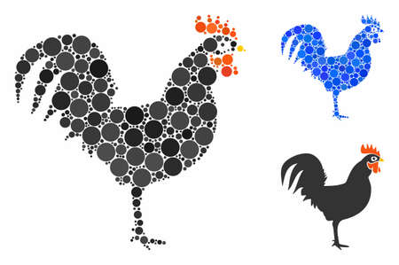 Cock mosaic of filled circles in different sizes and shades, based on cock icon. Vector filled circles are composed into blue collage. Dotted cock icon in usual and blue versions.