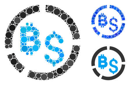 Bitcoin financial diagram mosaic of circle elements in variable sizes and shades, based on Bitcoin financial diagram icon. Vector circle elements are grouped into blue collage. Çizim