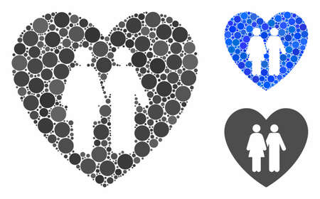 Family love heart composition of circle elements in different sizes and shades, based on family love heart icon. Vector round dots are combined into blue composition. Illustration