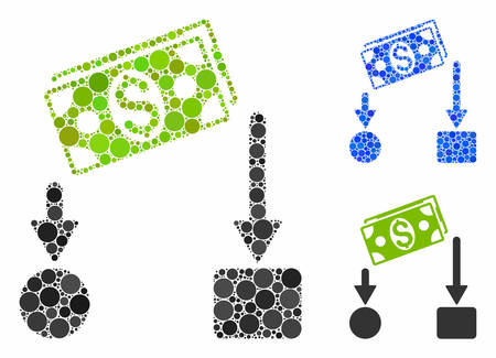 Cash flow mosaic of circle elements in different sizes and color tinges, based on cash flow icon. Vector round elements are composed into blue mosaic. Dotted cash flow icon in usual and blue versions.