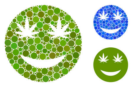 Cannabis smile mosaic of round dots in variable sizes and color tinges, based on cannabis smile icon. Vector round dots are composed into blue mosaic.