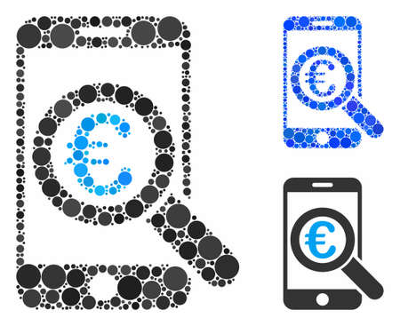 Euro mobile research composition of filled circles in different sizes and color hues, based on Euro mobile research icon. Vector small circles are organized into blue composition.