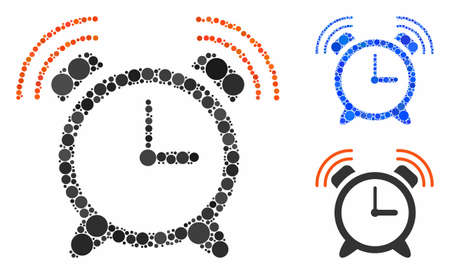 Alarm clock ring composition of filled circles in variable sizes and shades, based on alarm clock ring icon. Vector random circles are composed into blue composition.