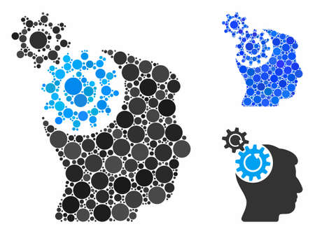 Head cogs rotation composition of filled circles in various sizes and color tints, based on head cogs rotation icon. Vector filled circles are organized into blue composition. Ilustracja