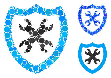 Security configuration mosaic of round dots in different sizes and color tones, based on security configuration icon. Vector round dots are grouped into blue composition. Banque d'images - 131322531