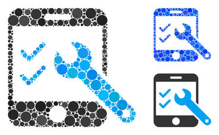 Smartphone options mosaic of filled circles in variable sizes and shades, based on smartphone options icon. Vector filled circles are organized into blue illustration.