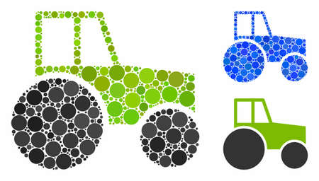 Wheeled tractor mosaic of filled circles in different sizes and shades, based on wheeled tractor icon. Vector filled circles are united into blue mosaic.