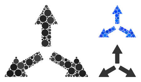 Expand arrows mosaic of round dots in variable sizes and color tones, based on expand arrows icon. Vector round elements are composed into blue mosaic.