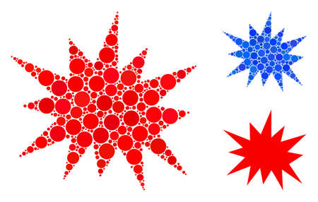 Bang mosaic of round dots in various sizes and color hues, based on bang icon. Vector round dots are composed into blue collage. Dotted bang icon in usual and blue versions.