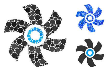 Rotor mosaic of filled circles in variable sizes and color hues, based on rotor icon. Vector small circles are united into blue illustration. Dotted rotor icon in usual and blue versions. Иллюстрация