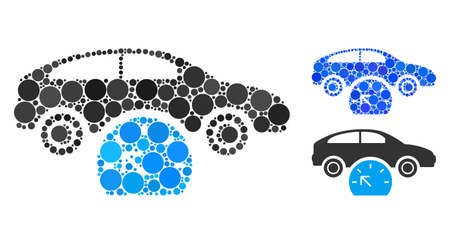 Car testing composition of round dots in different sizes and color hues, based on car testing icon. Vector round dots are organized into blue composition.