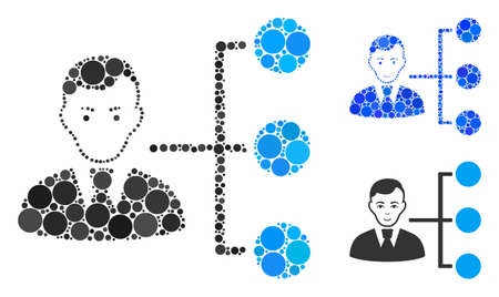Distribution manager mosaic of circle elements in different sizes and shades, based on distribution manager icon. Vector circle elements are organized into blue mosaic. Çizim