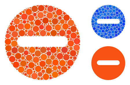 Forbidden mosaic of filled circles in different sizes and color tints, based on forbidden icon. Vector filled circles are united into blue collage. Dotted forbidden icon in usual and blue versions.