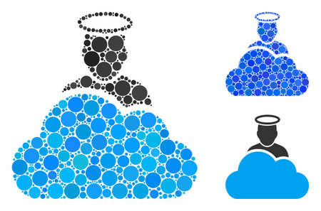 Cloud god composition of round dots in variable sizes and color tints, based on cloud god icon. Vector round dots are composed into blue composition. Dotted cloud god icon in usual and blue versions. Иллюстрация