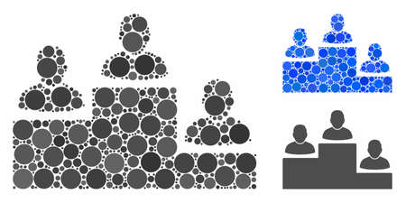 User rating levels mosaic of small circles in different sizes and shades, based on user rating levels icon. Vector filled circles are united into blue mosaic. Illusztráció