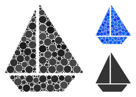 Yacht mosaic of filled circles in various sizes and color tints, based on yacht icon. Vector random circles are united into blue mosaic. Dotted yacht icon in usual and blue versions. 向量圖像