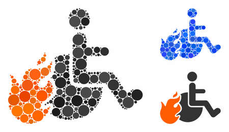 Fired patient mosaic of filled circles in different sizes and color tinges, based on fired patient icon. Vector filled circles are grouped into blue mosaic.