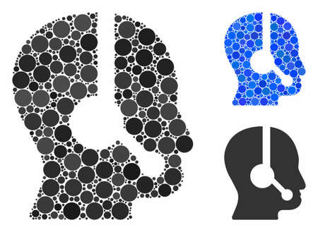 Call center operator mosaic of circle elements in variable sizes and color tints, based on call center operator icon. Vector circle elements are united into blue illustration.