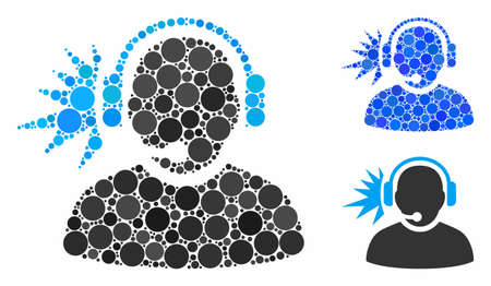 Operator headphones signal composition of round dots in variable sizes and color tinges, based on operator headphones signal icon. Vector round dots are composed into blue mosaic.