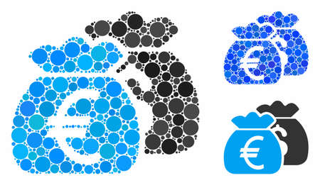 Euro money bags composition of spheric dots in variable sizes and shades, based on Euro money bags icon. Vector dots are organized into blue composition. Çizim