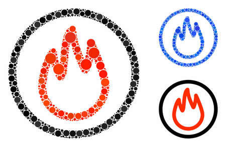 Fire mosaic of round dots in different sizes and color tints, based on fire icon. Vector dots are combined into blue mosaic. Dotted fire icon in usual and blue versions.