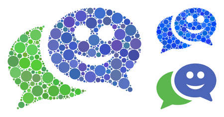 Happy chat mosaic of filled circles in different sizes and shades, based on happy chat icon. Vector filled circles are organized into blue mosaic. Dotted happy chat icon in usual and blue versions. Фото со стока - 131290630