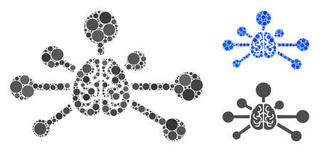 Mind control links mosaic of round dots in different sizes and color tints, based on mind control links icon. Vector round dots are composed into blue composition.