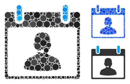 Call center manager calendar day composition of small circles in various sizes and color hues, based on call center manager calendar day icon. Vector small circles are combined into blue illustration.