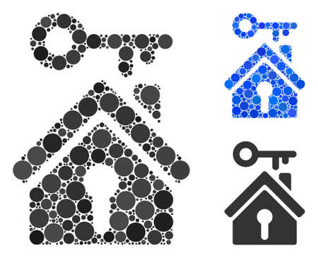 Home key mosaic of circle elements in variable sizes and color tints, based on home key icon. Vector circle elements are composed into blue illustration. Ilustração