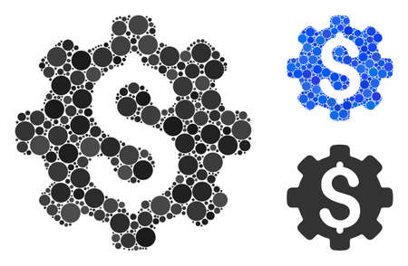 Industrial capital composition of circle elements in various sizes and color hues, based on industrial capital icon. Vector circle elements are composed into blue illustration.