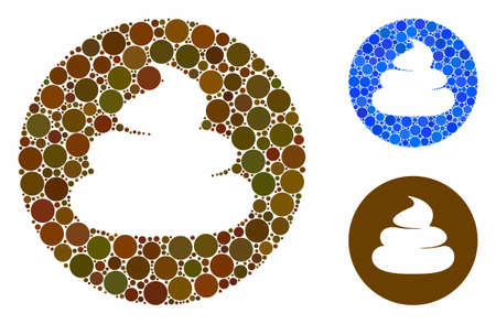 Shitcoin mosaic of small circles in different sizes and shades, based on shitcoin icon. Vector small circles are combined into blue mosaic. Dotted shitcoin icon in usual and blue versions.