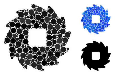Teeth ratchet wheel mosaic of small circles in variable sizes and color tinges, based on teeth ratchet wheel icon. Vector small circles are combined into blue mosaic.